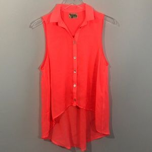 Show Me Your MuMu Neon Pink Orange Flowy Hi Lo Top